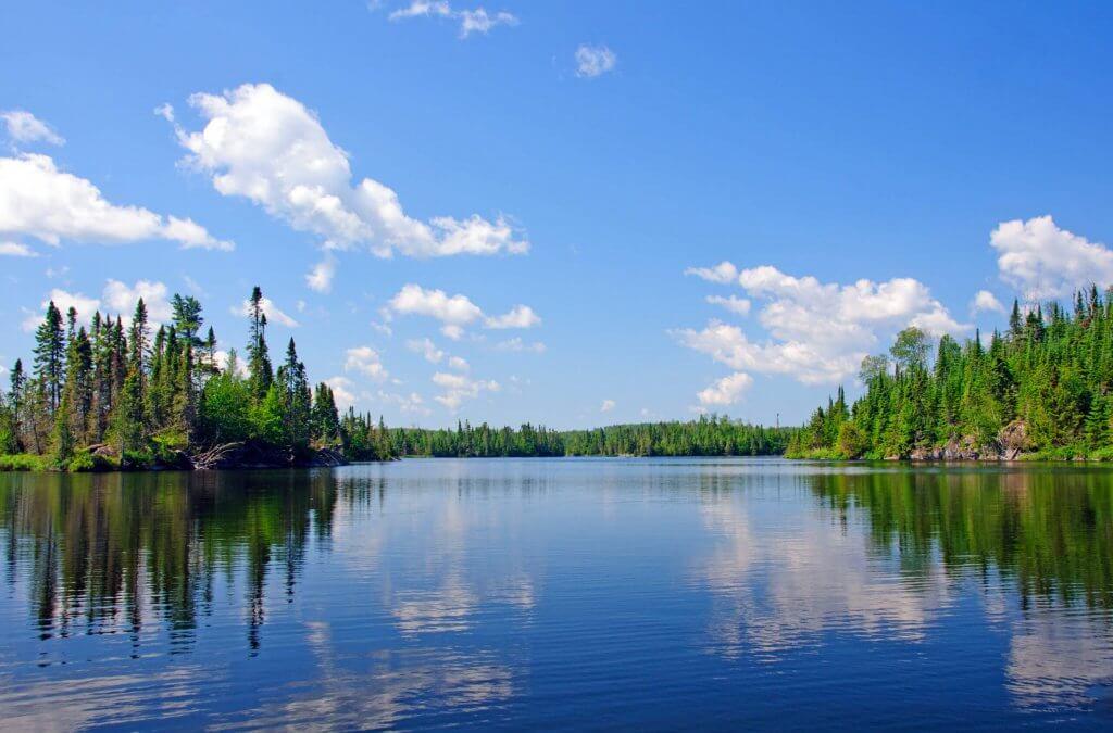 Clean blue lake in Minnesota